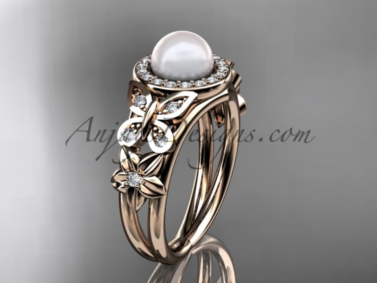 a4eb2a810 Rose Gold Butterfly Pearl & Diamond Rings Wedding Ring AP524