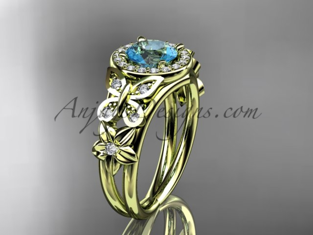 14K Yellow Gold Halo Diamond Butterfly Bridal Ring ADAM524, March Birthstone Flower Ring