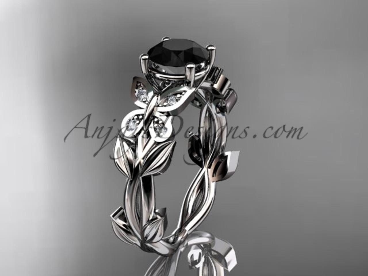 Black Diamond Wedding Ring.Butterfly Rings 14k White Gold Leaf Diamond Engagement Ring Black Diamond Wedding Ring Adlr526