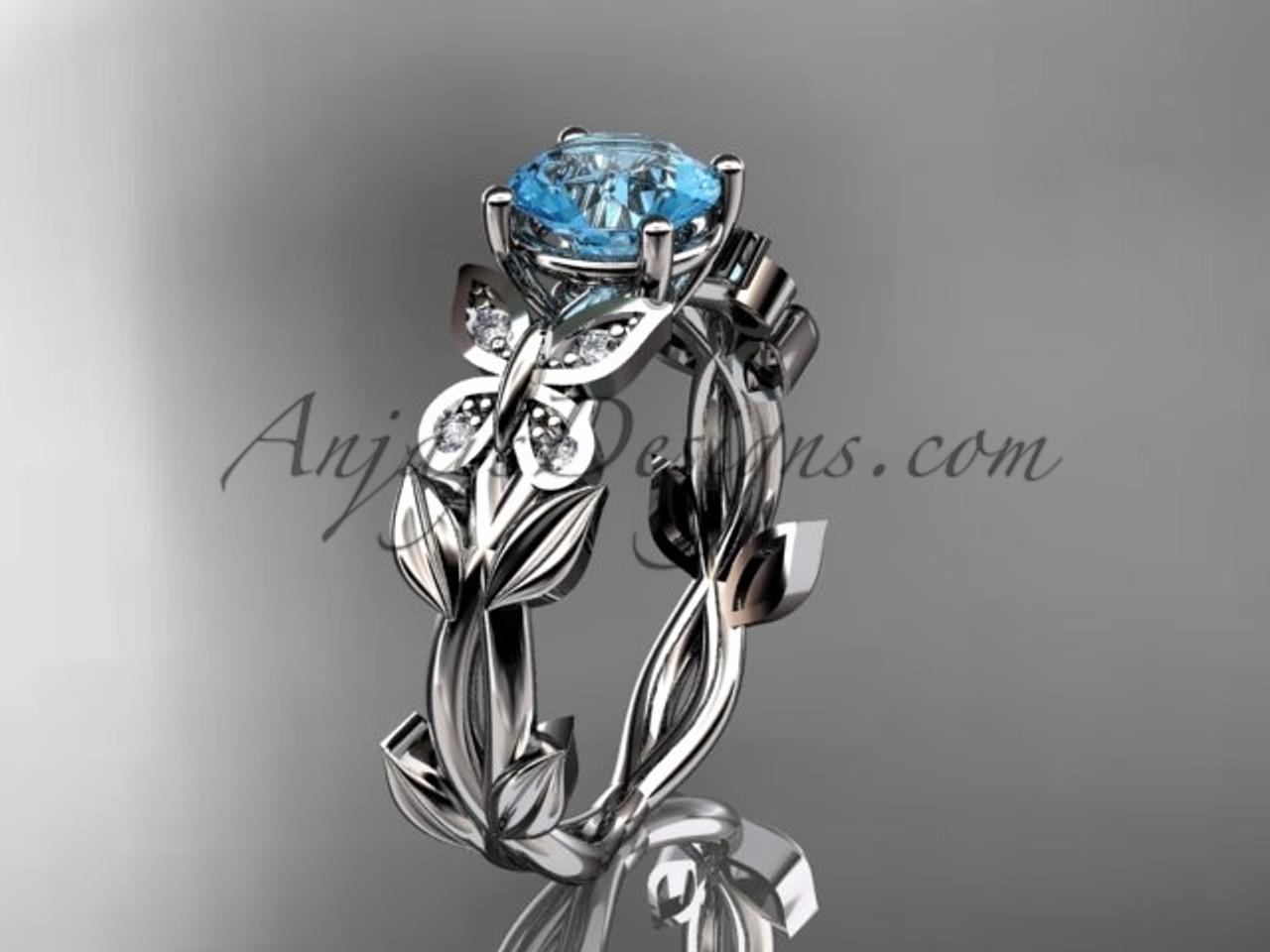 14K White Gold Diamond Butterfly Bridal Ring ADAM526, March Birthstone Flower Ring