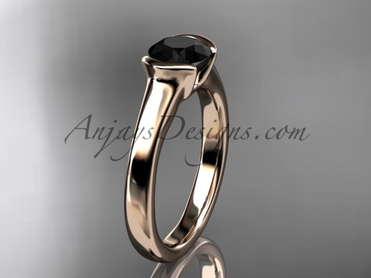This is an image of Affordable antique engagement rings 47kt Rose Gold Beautiful Black Diamond Wedding Ring VD47