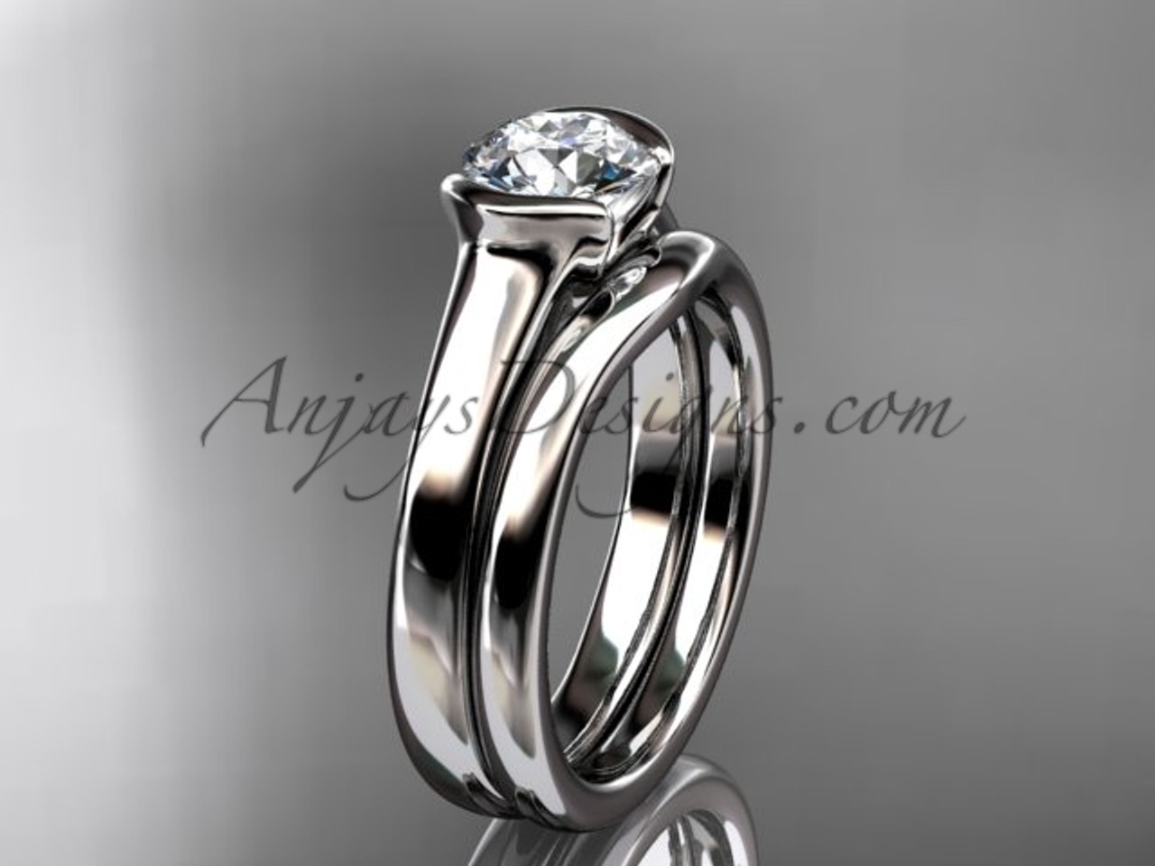 This is an image of Beautiful Engagement Rings Platinum Wedding Ring Set VD43S