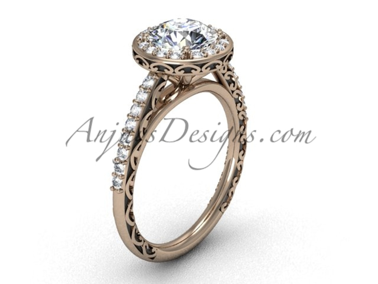 Moissanite Ring Rose Gold Halo Engagement Ring Sgt615