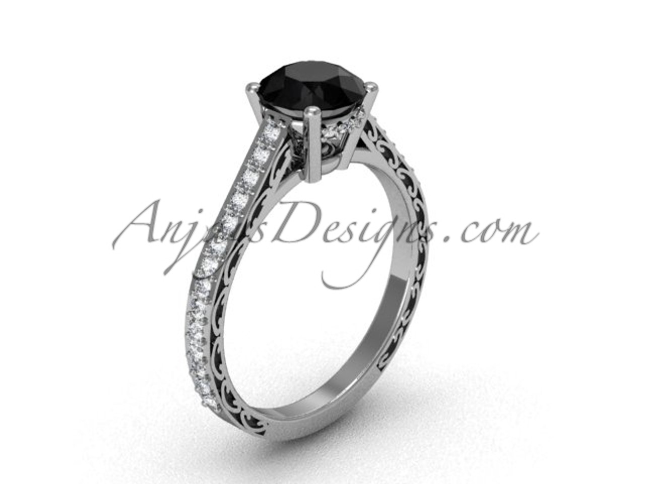 Vintage Sgt618 Gold Unique Black Ring Wedding White Diamond Engagement Rings14k yvmNPn08wO
