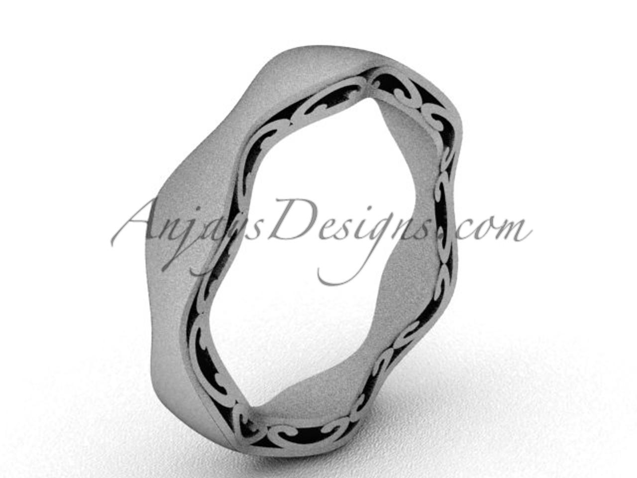 928667ddc Modern Wedding Band, Matte Platinum Bridal Ring SGT619
