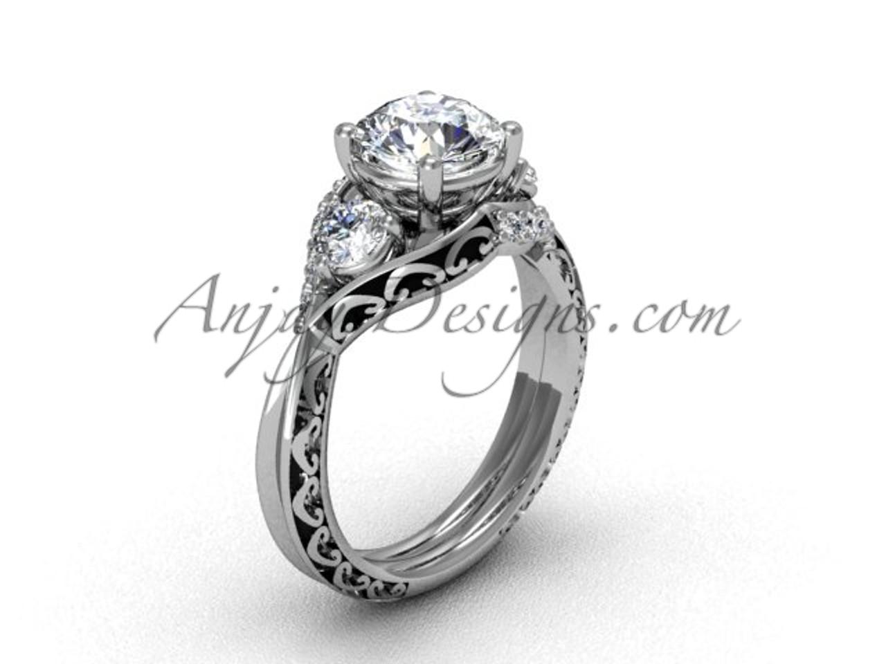 Moissanite Engagement Ring White Gold Bridal Ring Sgt624