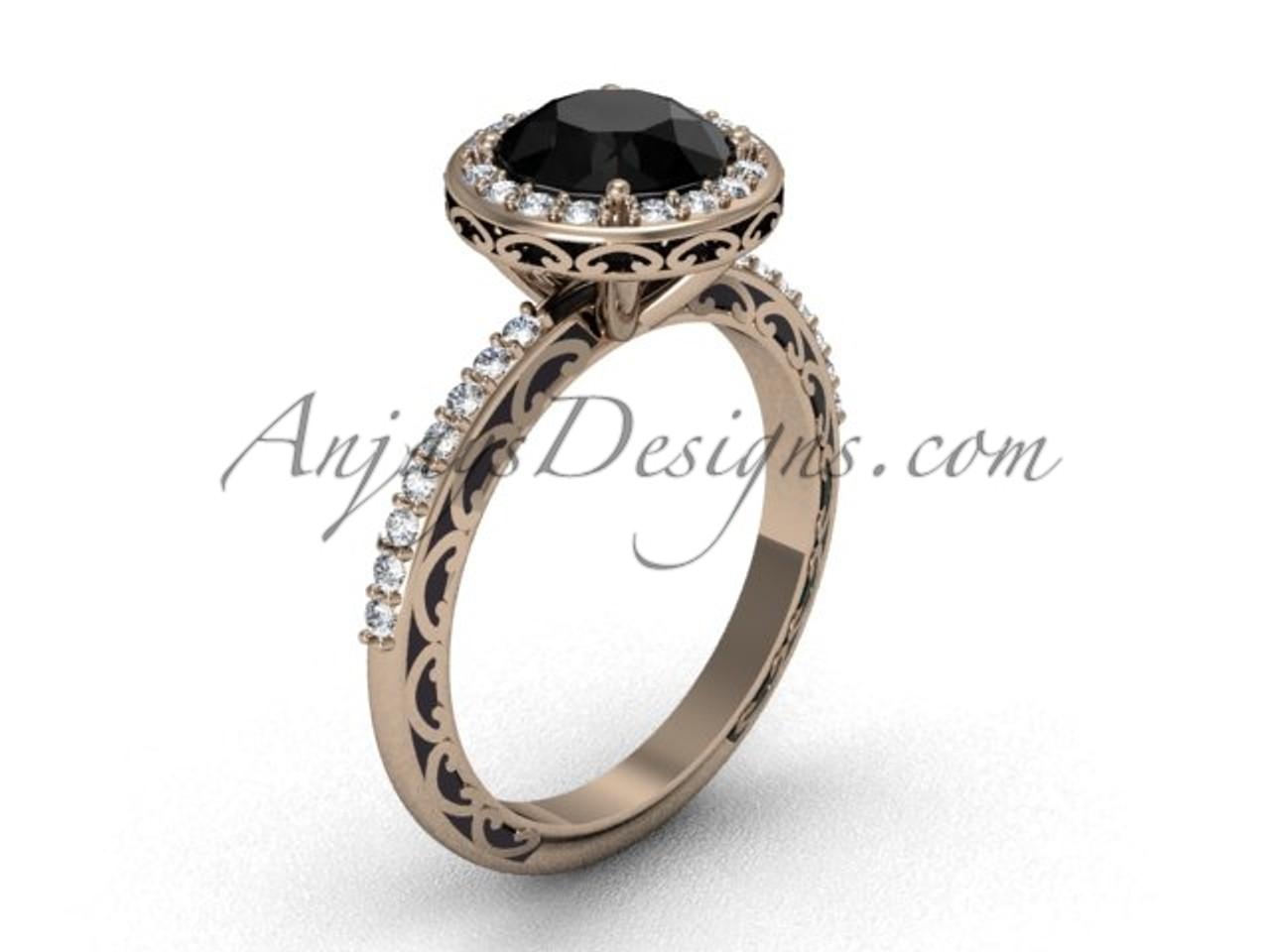 Unique Wedding Ring.Unique Engagement Rings 14k Rose Gold Dream Black Diamond Solitaire Bridal Ring Sgt625