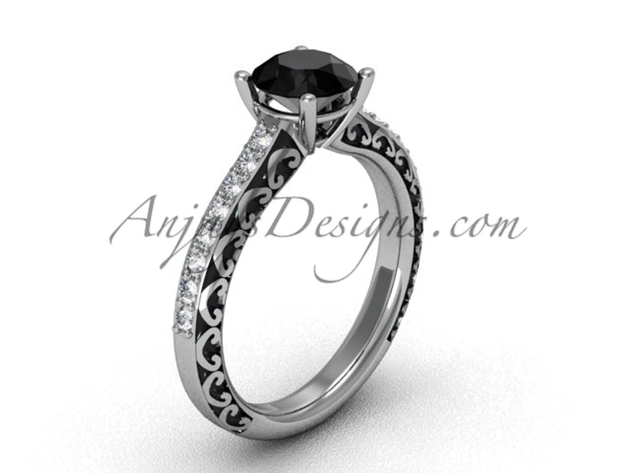 Black Diamond Wedding Ring.Black Diamond Rings For Women 14k White Gold Swirl Wedding Ring Sgt629