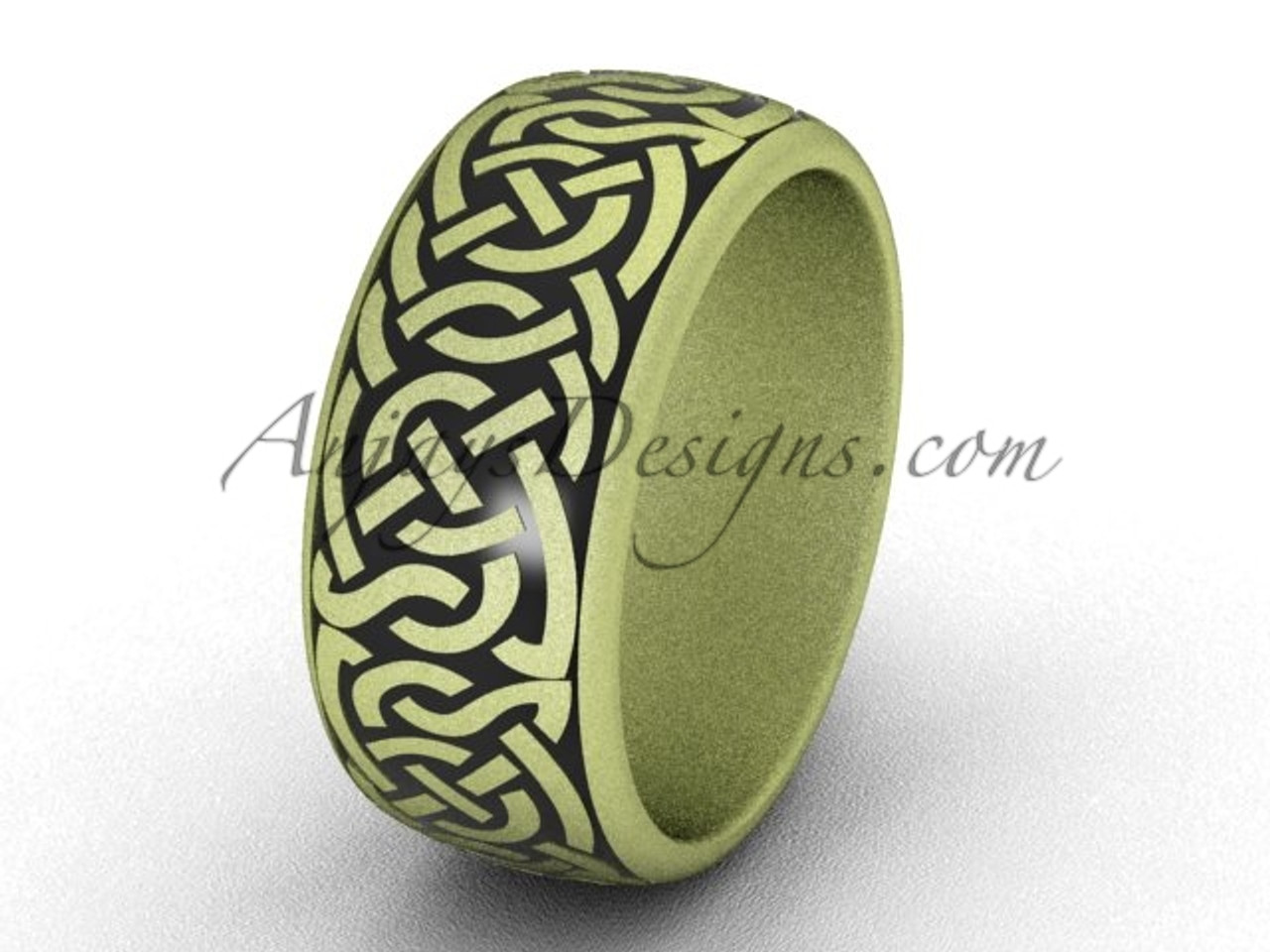 Unique Wedding Bands 14k Yellow Matte Gold 8 35 Mm Wide Modern Marriage Ring Band Sgt649g