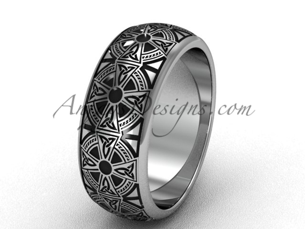 This is a graphic of Simple Bridal Rings, 31k White Gold Celtic Wedding Band, 31.31mm wide Band SGT6313G
