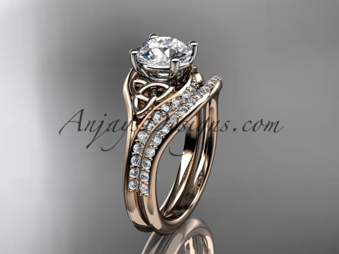 14kt Rose Gold Diamond Celtic Trinity Knot Engagement Ring Wedding Ring