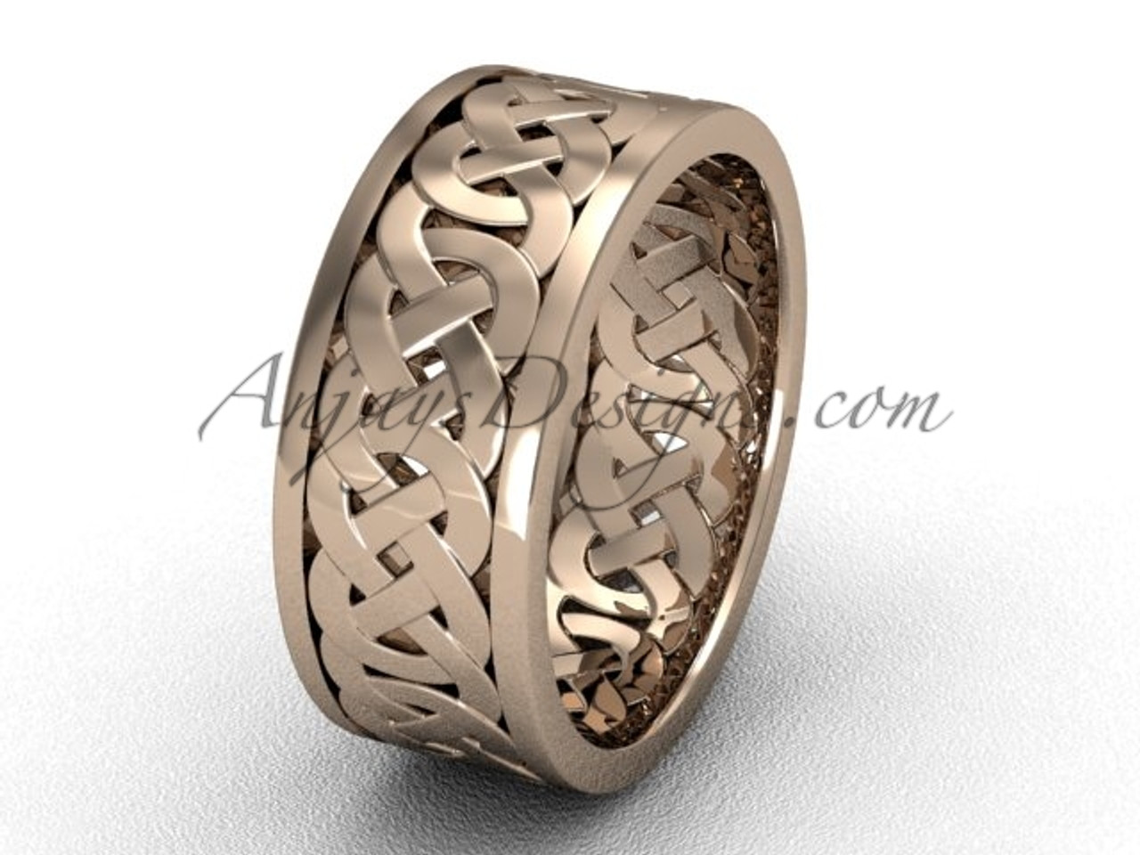 This is a photo of Unique Simple Celtic 43.43 mm Wedding Bands - 43k Rose Gold Band Proposal Ring CT43431G