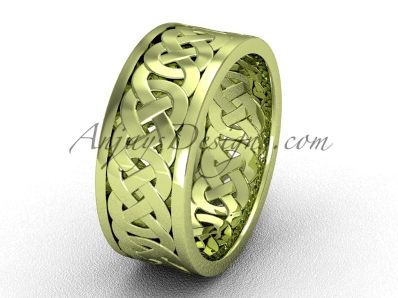 Cool Wedding Rings.7 5 Mm Wide Unique Elegant Celtic Wedding Bands 14kt Yellow Gold Modern Engagement Ring Band Ct7431g