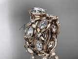 Moissanite wedding engagement ring set in rose gold, made in nature inspired design patterns.