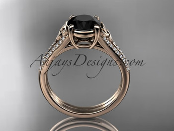 14kt Rose Gold Celtic Trinity Knot Engagement Ring Wedding Ring