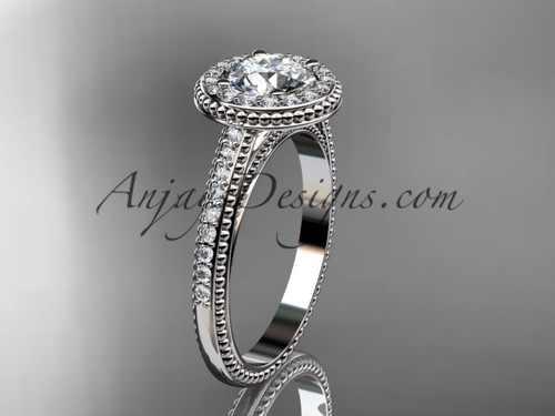 """Platinum diamond unique engagement ring, wedding ring with a """"Forever One"""" Moissanite center stone ADER104"""