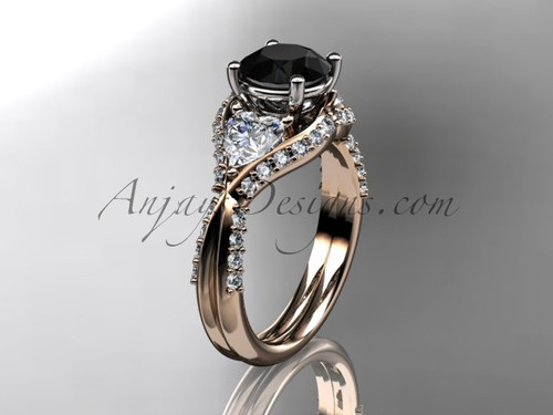 Unique 14kt rose gold diamond wedding ring, engagement ring with a Black Diamond center stone ADLR319