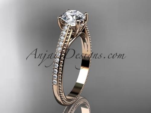 14kt rose gold diamond unique engagement ring, wedding ring ADER87