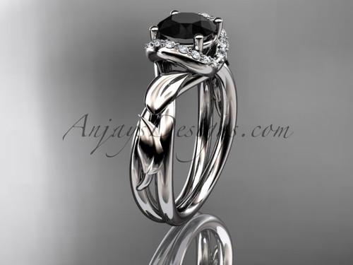 Platinum diamond leaf and vine wedding ring, engagement ring with a Black Diamond center stone ADLR289