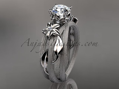 Platinum diamond floral,leaf and vine wedding ring, engagement ring ADLR253