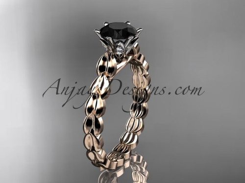 14k rose gold diamond vine and leaf wedding ring, engagement ring with  Black Diamond center stone ADLR35