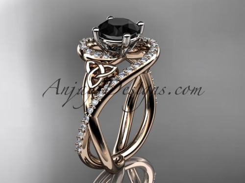 14kt rose gold diamond celtic trinity knot wedding ring, engagement ring with a Black Diamond center stone CT7320