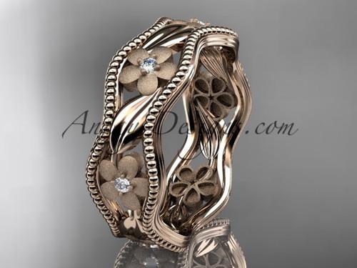 14kt rose gold diamond flower wedding ring, engagement ring, wedding band ADLR190B