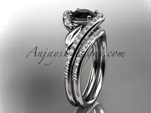 platinum diamond leaf and vine wedding ring, engagement set with a Black Diamond center stone ADLR317S