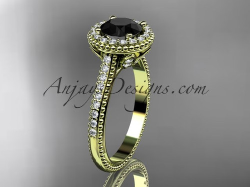14kt yellow gold diamond floral wedding ring, engagement ring with a Black Diamond center stone ADLR101