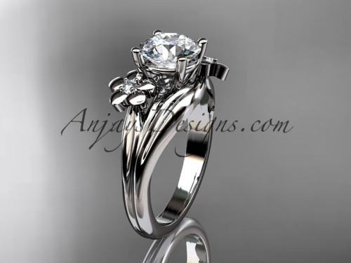 "14k white gold diamond leaf and vine wedding ring, engagement ring with a ""Forever One"" Moissanite center stone ADLR159"