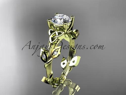 14kt yellow gold diamond celtic trinity knot wedding ring, engagement ring CT7215