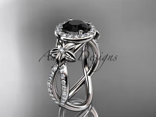 Black Diamond Halo Bridal Ring, Platinum Flower Ring ADLR374