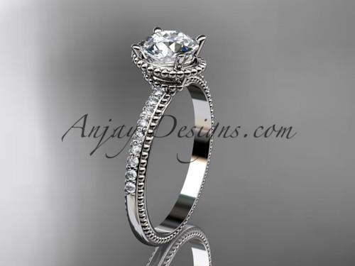 "14kt white gold diamond unique engagement ring, wedding ring with  ""Forever One"" Moissanite center stone ADER86"