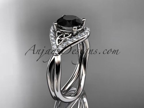 14kt white gold diamond celtic trinity knot wedding ring, engagement ring with a Black Diamond center stone CT7390