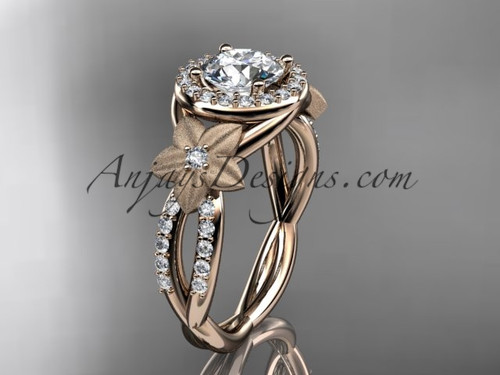 14kt rose gold diamond floral wedding ring, engagement ring ADLR127