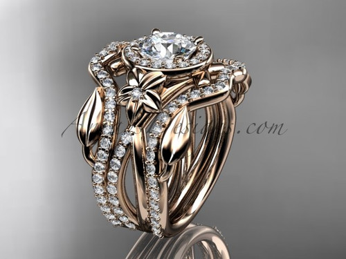 """14kt rose gold diamond leaf and vine, flower engagement ring, wedding ring,  with  """"Forever One"""" Moissanite center stone and double matching band ADLR89S"""