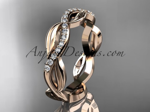 14k rose gold diamond leaf and vine wedding ring, engagement ring, wedding band ADLR100B