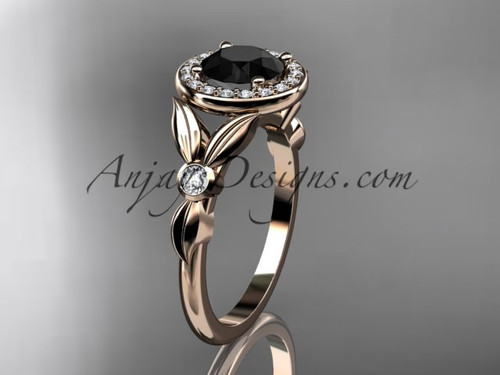 14kt rose gold diamond floral wedding ring, engagement ring with a Black Diamond center stone ADLR129