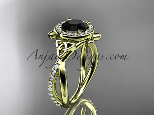 14kt yellow gold celtic trinity knot engagement ring, wedding ring with a Black Diamond center stone CT789