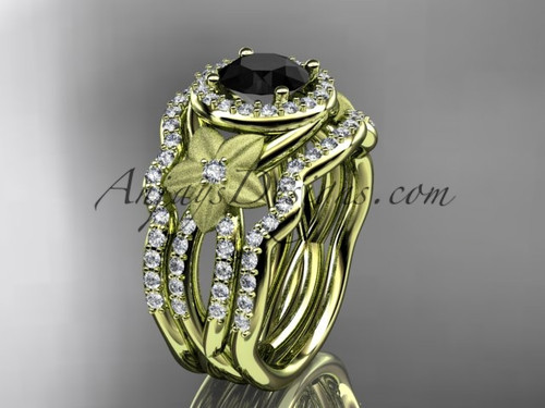 14kt yellow gold  diamond floral wedding ring, engagement ring with a Black Diamond center stone and double matching band ADLR127S