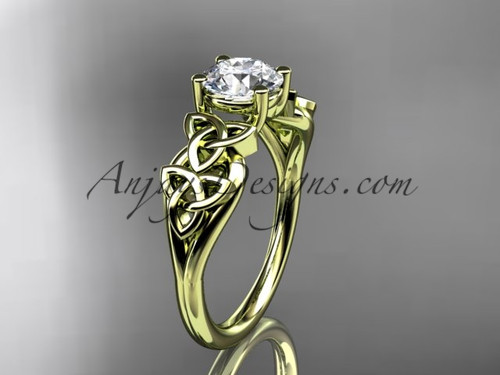 "14kt yellow gold celtic trinity knot wedding ring, engagement ring with a ""Forever One"" Moissanite center stone CT7169"