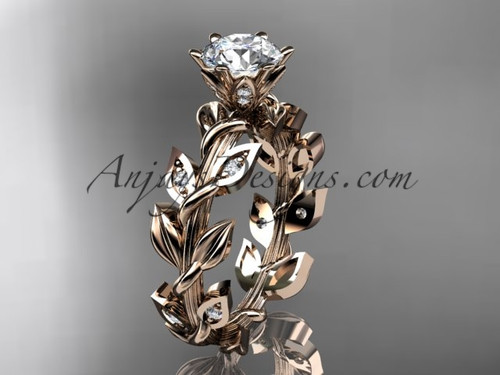 Diamond Ring, Rose Gold Leaf and Vine Wedding Ring ADLR124