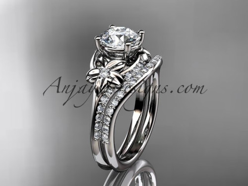 "14kt white gold diamond floral wedding set, engagement set with a ""Forever One"" Moissanite center stone ADLR125S"