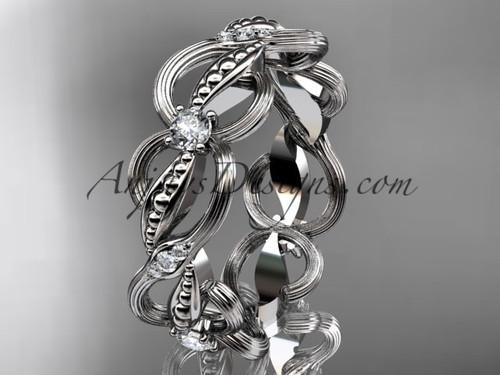 14kt white gold diamond leaf and vine wedding ring, engagement ring, wedding band ADLR52B