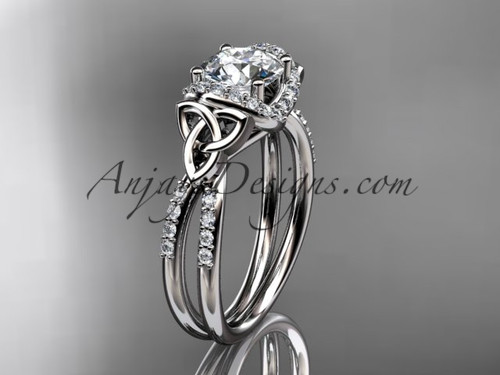 "platinum diamond celtic trinity knot wedding ring, engagement ring with a ""Forever One"" Moissanite center stone CT7155"