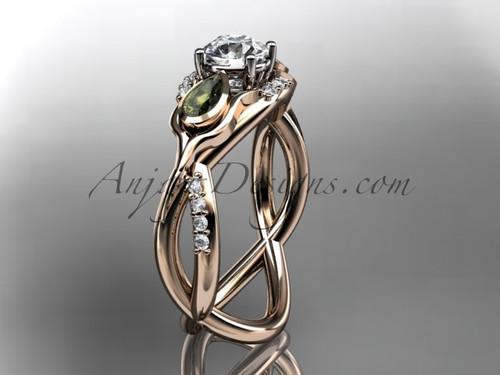 Unique 14kt rose gold diamond tulip flower, leaf and vine engagement ring ADLR226