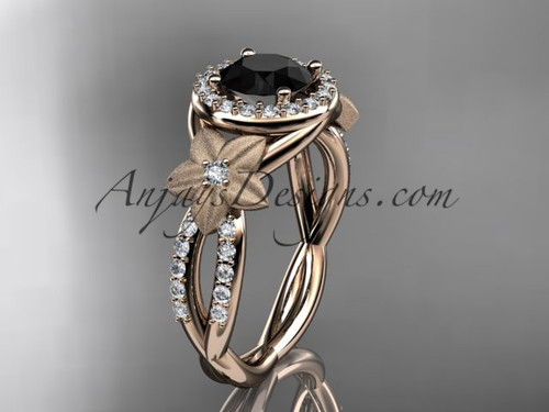 14kt rose gold diamond floral wedding ring, engagement ring with a Black Diamond center stone ADLR127