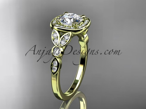 """14kt yellow gold diamond leaf and vine wedding ring, engagement ring with a """"Forever One"""" Moissanite center stone ADLR179"""