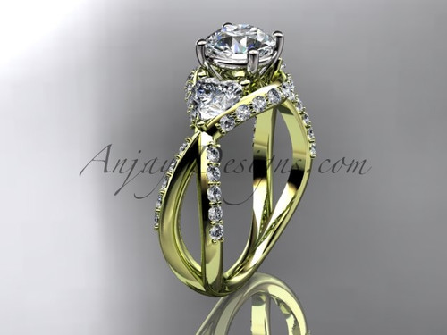 """Unique 14kt yellow gold diamond wedding ring, engagement ring with a """"Forever One"""" Moissanite center stone ADLR318"""