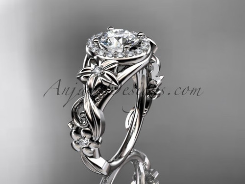 14kt white gold diamond unique engagement ring, wedding ring ADLR300